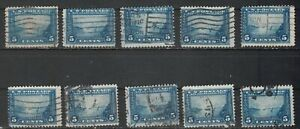 USA Scott #  399  5 Cent Golden Gate  Perf 12 Blue Used Lot of 10 (399-10-2)