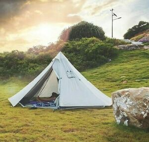 Outdoor Camping Teepee Upgraded Ultralight 3-4 Person Pyramid Tent 20D Silicone
