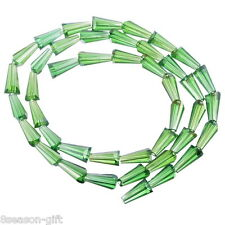 50PCs Green Glass Crystal Drop Shape Beads Crafts Accessories 12mm