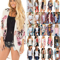 Womens Floral Kimono Cardigan Ladies Summer Beach Casual Jacket Tops Blouse Vest