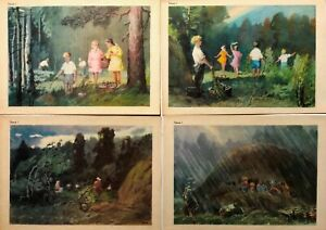 Soviet Russian Kids Illustration Children in the Forest Posters 4 pcs 1950s