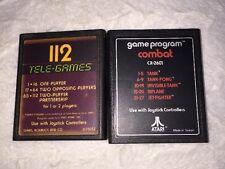 Atari Game Cartridge Lot 112 Tele-Games Space Invaders & Game Program Combat 80s