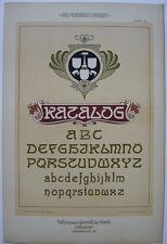 Schriften Beispiel Katalog Orig Lithografie F. Schweinmanns Jugendstil 1900