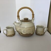 Barbara Davidson Pottery Handcrafted In Larbert Scotland Tea Pot And Two Mugs