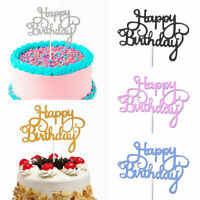 10X Cake Topper Happy Birthday Gold Silver Glitter Party Wedding DIY Decoration