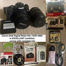 Canon EOS Digital Rebel XSi / EOS 450D 12.2MP Digital SLR Camera+Kits - Black