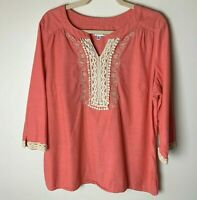 Croft & Barrow Women's Top Size XL Cotton 3/4 Sleeves Coral Orange Cream Lace