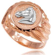 10k Solid Rose Gold Horse Head Men's Ring