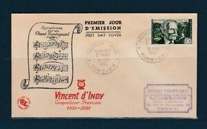 enveloppe 1er jour  musique compositeur  Vincent d' Indy  75 Paris  1951