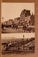 Postcard unposted Sussex, Brighton, 2 views: Kings road and palace pier