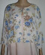 C Robbie Bee Pale Yellow Blue Floral Crinkle Jacket Top Semi-Sheer 6