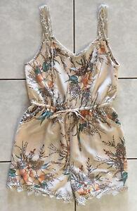 TEMT Floral Print Lace Trim Sleeveless Jumpsuit - Size 8 - Excellent Condition