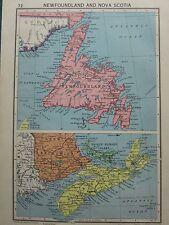 1942 MAP ~ NEWFOUNDLAND & NOVA SCOTIA PRINCE EDWARD ISLAND NEW BRUNSWICK