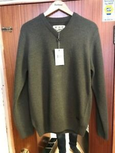 Barbour Mens Nelson 100% Lambswool V Neck Sweater BNWT