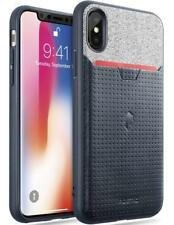 Poetic Nubuck Credit Card ID Slot TPU Case For Apple iPhone X / Xs Navy Blue