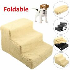 Folding Pet Puppy Doggy Dog Stairs Plastic 3 Steps Ladder Ramp Washable Cover