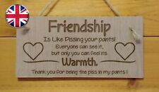 Friendship is like pissing your pants Fun Engraved Wooden hanging Plaque gift