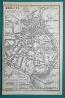 1897 BAEDEKER MAP - Germany Gorlitz Town Plan + Railroads