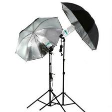 Photo Studio Flash Light Kit Umbrella Grained Black Silver Reflective Reflector
