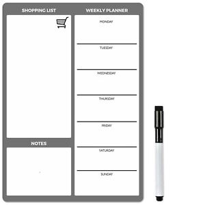 A4 Magnetic Planner, Dry Wipe Fridge Memo or Notice Board for Office Home, Clean