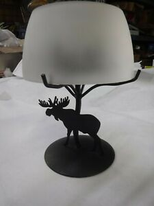 PARTYLITE FOREST FRIENDS MOOSE CANDLE HOLDER WITH FROSTED GLASS SHADE O59