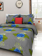 Homefabs 100% Cotton Double Bed Sheet with 2 Pillow Covers (DBS 097)