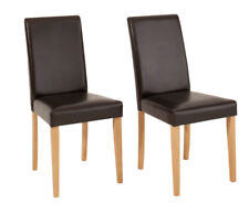 2 x Chair Dining Kitchen Recliner Pu Faux Leather Upholstered Brown