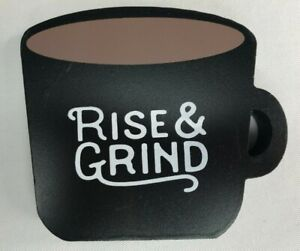 """Rise & Grind"" Wood Cup Design Sign for Coffee Bar & Tiered Tray"