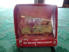 3D Brass Fire Engine Christmas Ornament