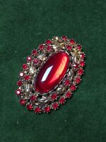 1980s Brooch Red Glass Filigree Floral Pattern Jewellery Pin Vintage