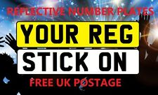 REFLECTIVE STICK ON NUMBER PLATES FRONT OR REAR CAR LORRY MOTORBIKE TRAILER ETC