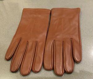 M&S Brown  Dark Tan Leather gloves  Size L