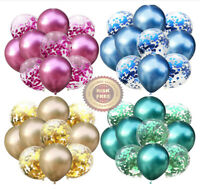 "12"" Metallic Pearl Chrome Latex Balloons 6-50 pcs Wedding Birthday Party Decor"