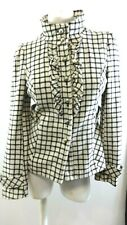 AMBITION WOMEN'S BLACK AND WHITE PLAID RUFFLED BUTTON UP JACKET SIZE M
