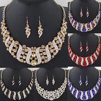 Charm Women Crystal Pendant Choker Bib Statement Gold Chain Necklace Earring Set