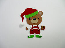 Teddy Bear Elf Christmas theme cardstock paper pieced die cut Scrapbooking/Cards