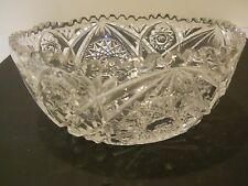 """EAPG Pressed Glass Saw Toothed Edge Cut 8 1/2"""" Serving Bowl Medallion Design"""