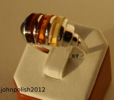 Beautiful Multicolour Baltic Amber Ring on Silver 925