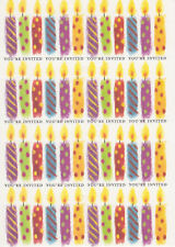 25 BIRTHDAY PARTY INVITATIONS Colorful Candles Cards Notes Casual Adult Set NEW