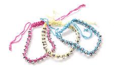 Set Of Three Girly Magenta Pink Yellow&Blue String Bracelets w Shiny Beads(T225)