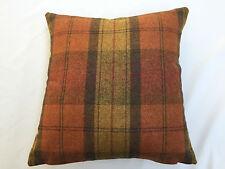 100% Wool Plaid Orange Marmalade By Art Of The Loom Cushion Cover 42 x 42cm