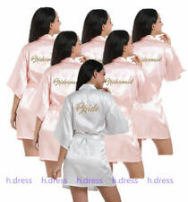 UK Satin Silk Personalized Wedding Robe Bridesmaid Bride Mother Dressing Gown