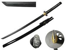Wooden Japanese Samurai Katana Sword Waster Black Blade Anime Cosplay Costume