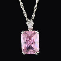 Pendant Rectangle Pink Sapphire 18K White Gold Plated CZ Free Necklace Chain