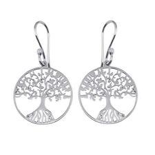 Sterling Silver Tree of Life Round Flat Hook Earrings