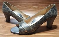 TARYN ROSE MADE IN ITALY ANIMAL PRINT HELL PUMPS OPEN TOE WOMENS SHOES SIZE 7