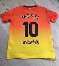 Auténtico Barcelona 2012-13 Messi 10 Boys 8-10 años lejos camiseta de fútbol en muy buena condición