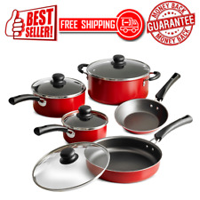 New listing Kitchen Cookware Set 9-Piece Pots Pans Cooking Home Aluminum Nonstick, Red, New