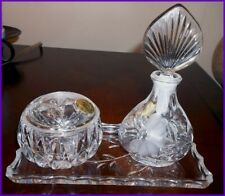 VTG 3 Piece PRINCESS HOUSE 24% Cut Lead Crystal Perfume Trinket Box & Tray Czech