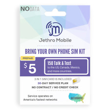Preloaded Jethro Mobile SIM Card with $5 Prepaid Plan talk text 30 Days 1 Month